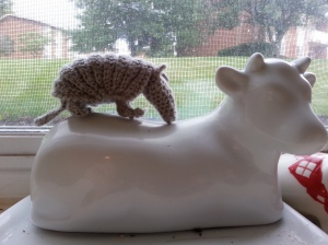 Crochet armadillo standing on a cow butter platter